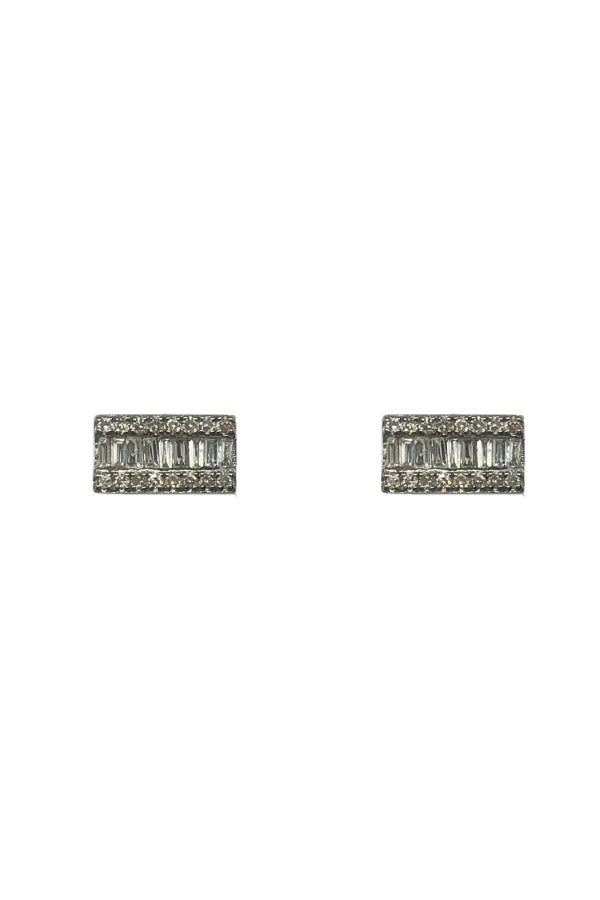 Diamond Silver Baguette Bar Studs