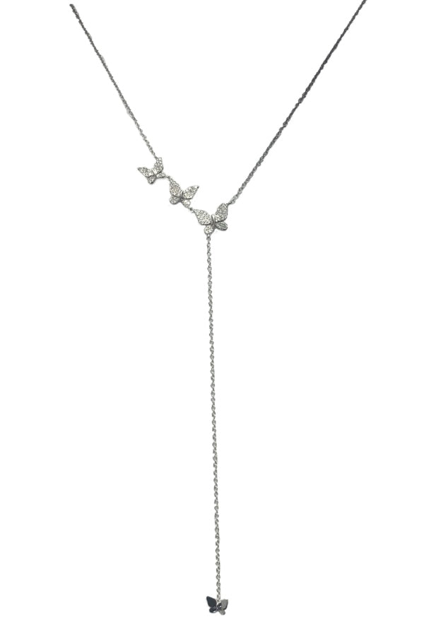 White Gold Diamond Butterfly Lariat