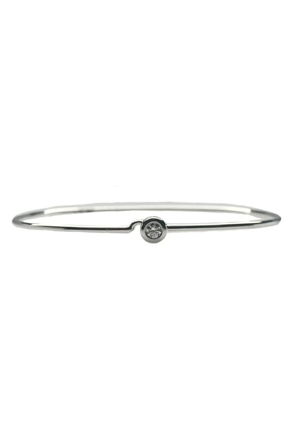 White Gold Diamond Hook Bangle