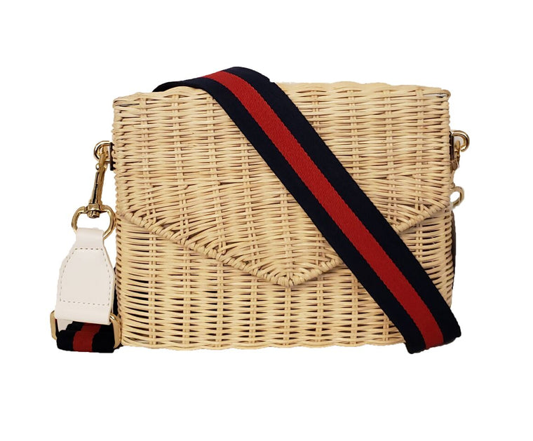 Natural Rattan Crossbody Navy/Red Stripe