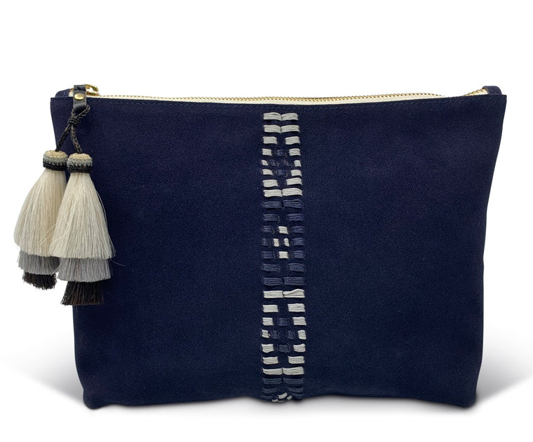 Kempton & Co. Navy Suede Polo Pouch
