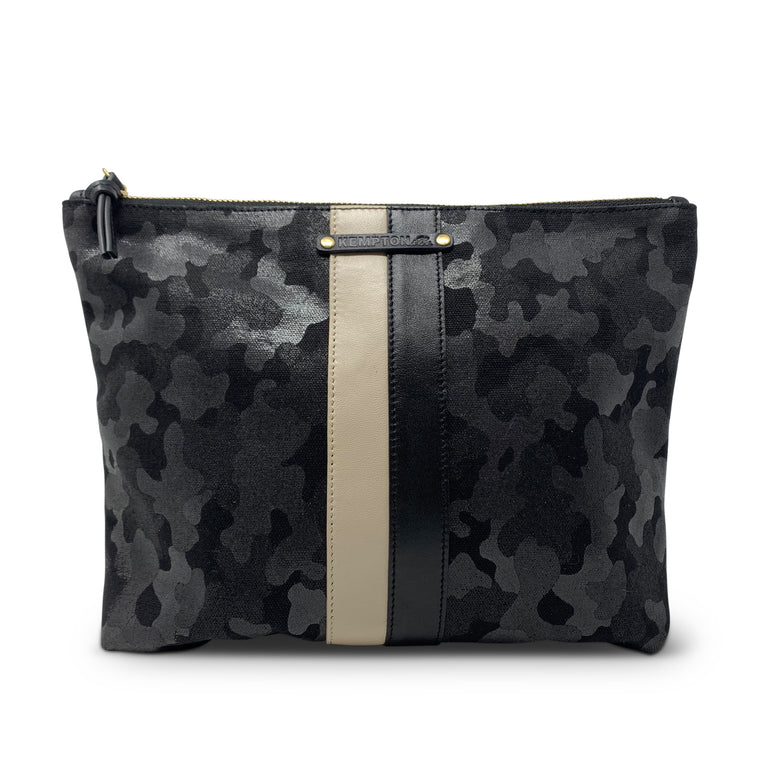 Kempton & Co. Black Canvas Camo Pouch