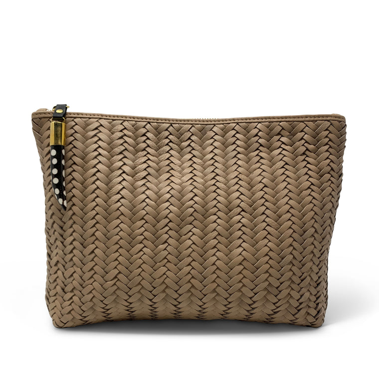 Kempton & Co. Blush Basket Weave Pouch