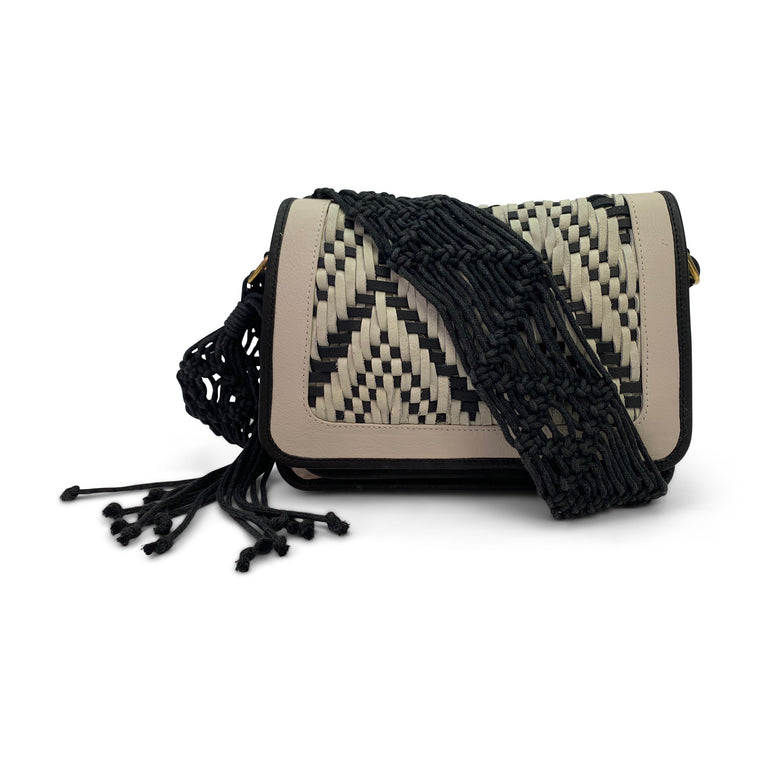 Leather Woven Crossbody Bag