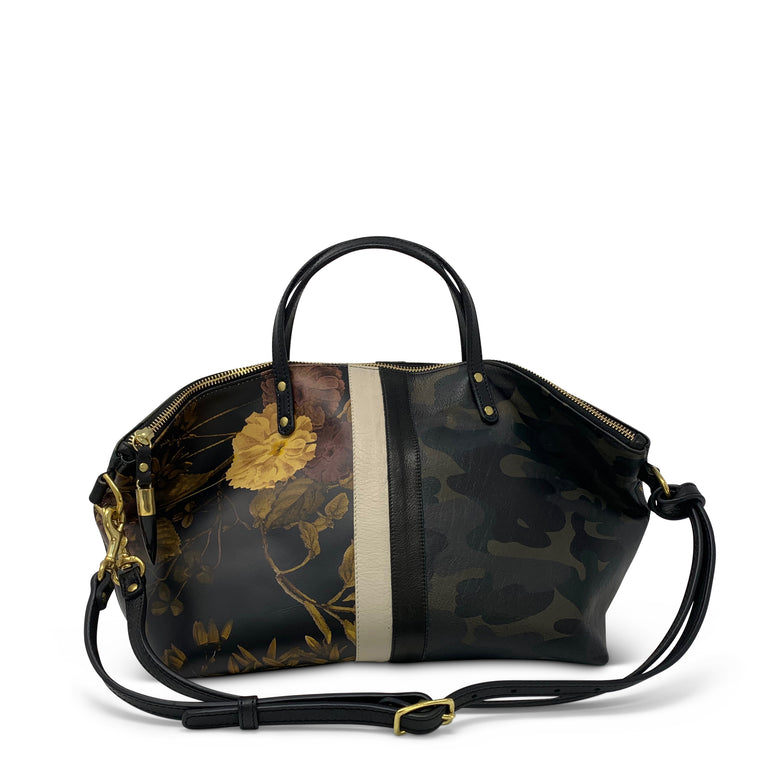 Black Peony/Dark Camo Leather Bag