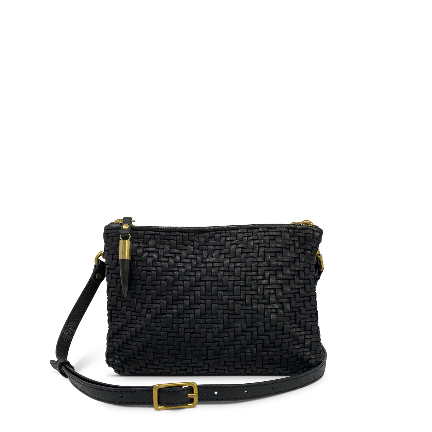 Black Woven Leather Double Zip Crossbody