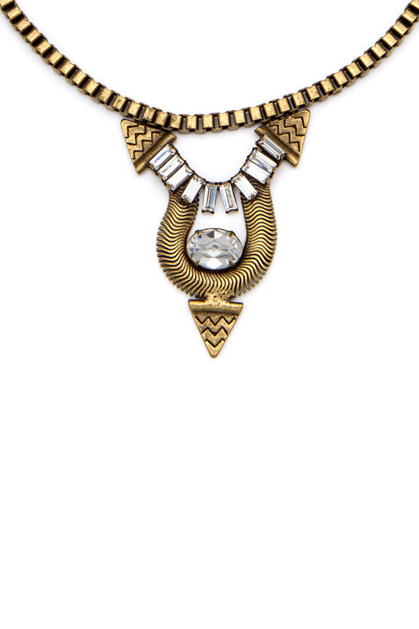 Brass & Crystal 'Santiago' Necklace
