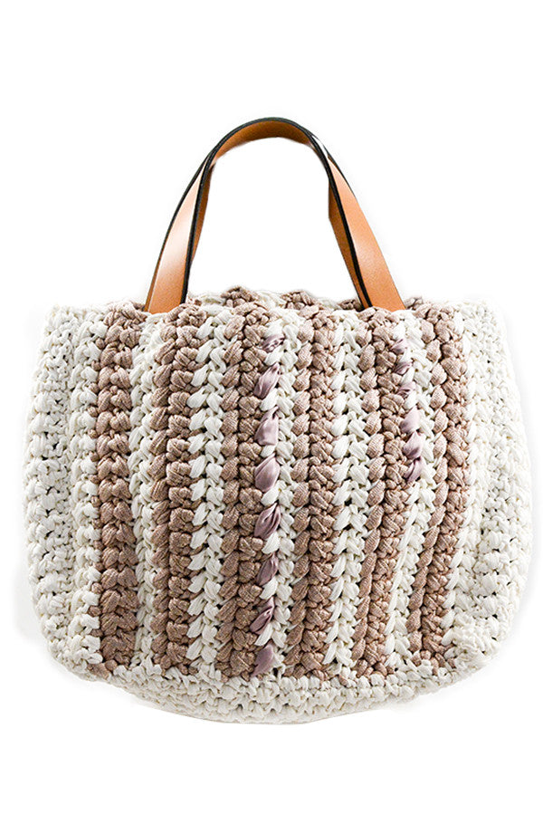 Ivory/Blush Woven Tote w/ Leather Handles & Silk Detail