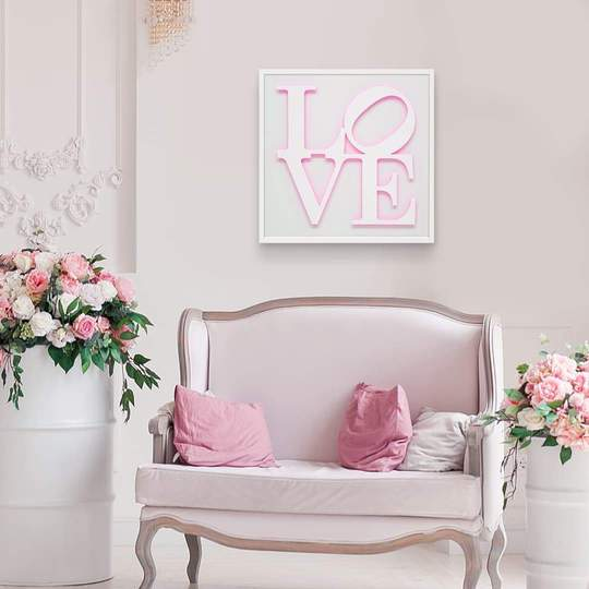 White & Neon Pink, Orange or Green Love Wall Sculpture