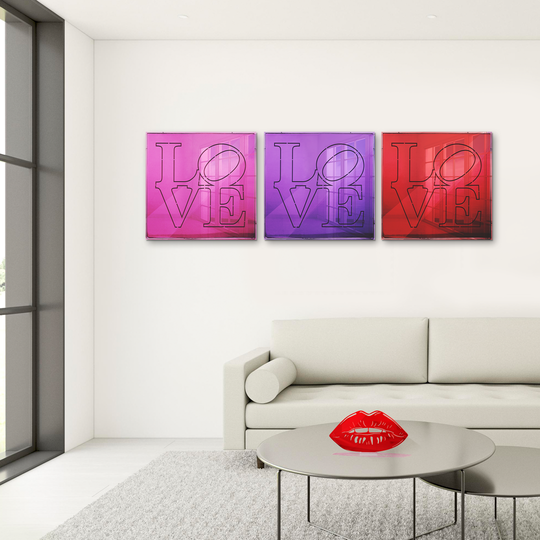 4artworks LOVE Mirrored Wall Sculpture Decor (Various Colors)