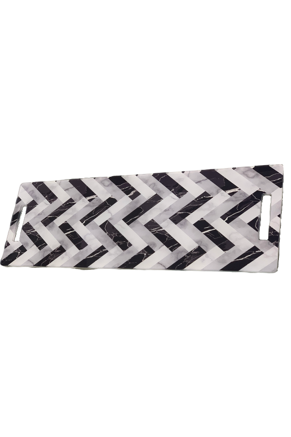 Acrylic Runner Charcuterie Board Black and White Chevron