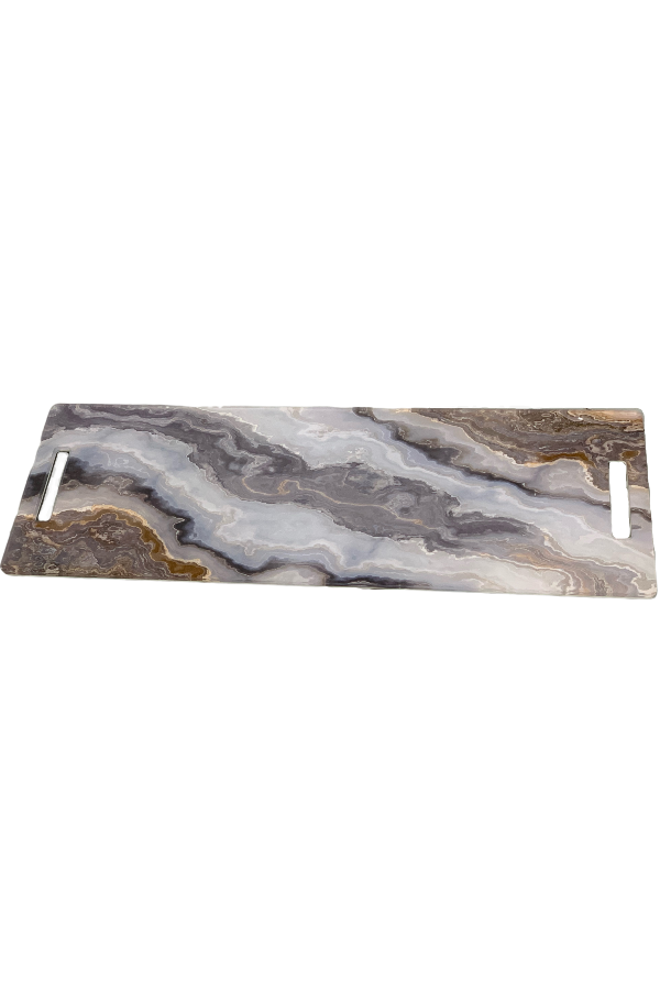 Acrylic Runner Charcuterie Board Grey, White Natural Marble