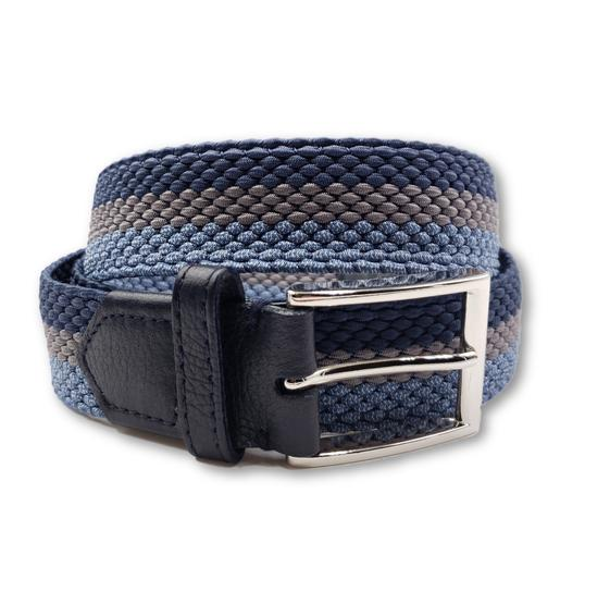 Men's Light Blue & Grey Striped Elastic Stretch Belt