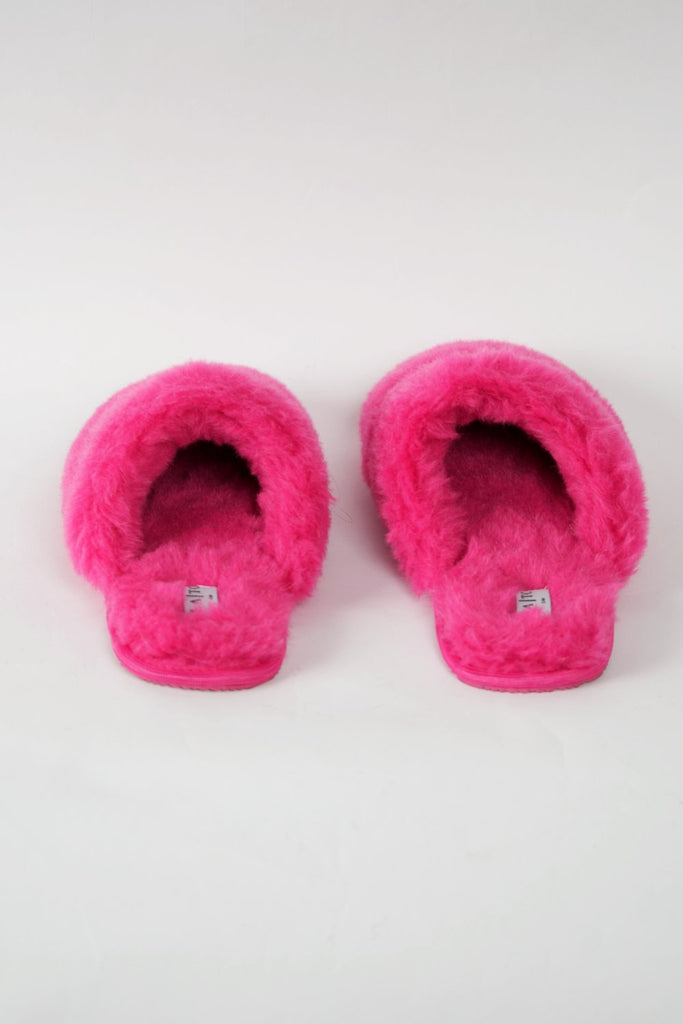 LA Trading Co Pink Faux Fur Slippers F off