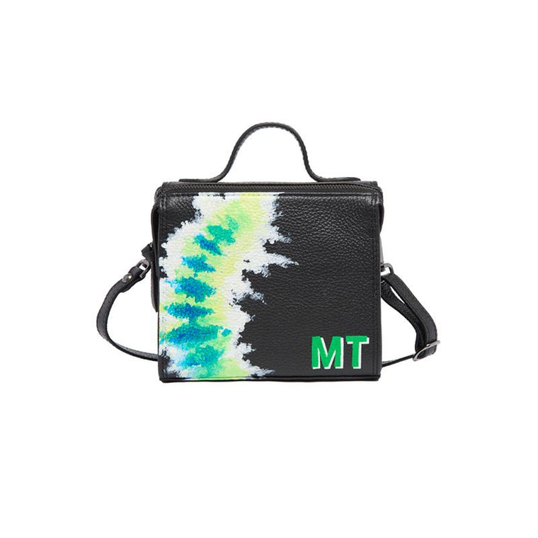 Meira T Mini Flourescent Green Tie Dye Initial Bag