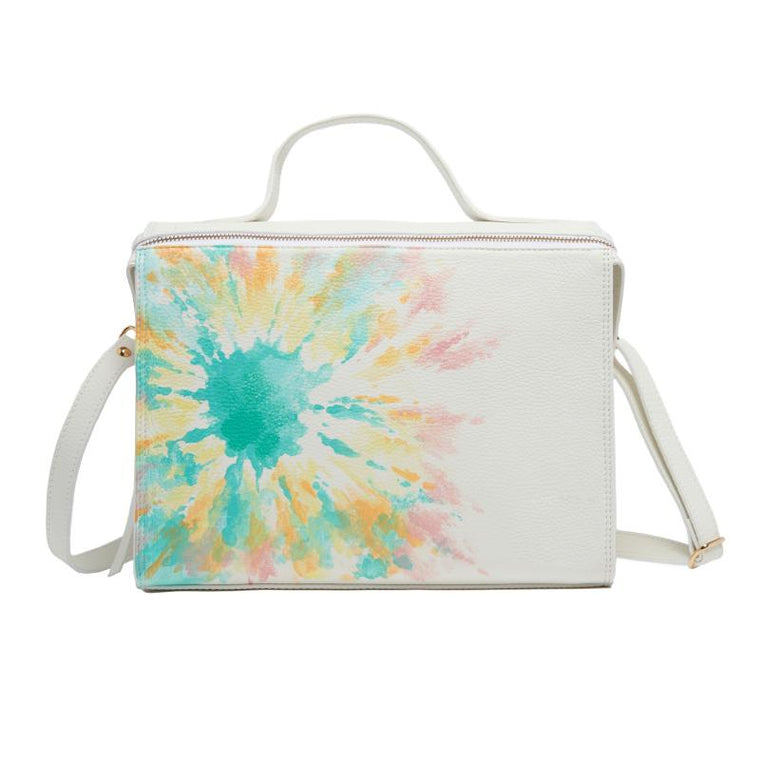 Meira T White Handpainted Tie Dye Floursecent Bag