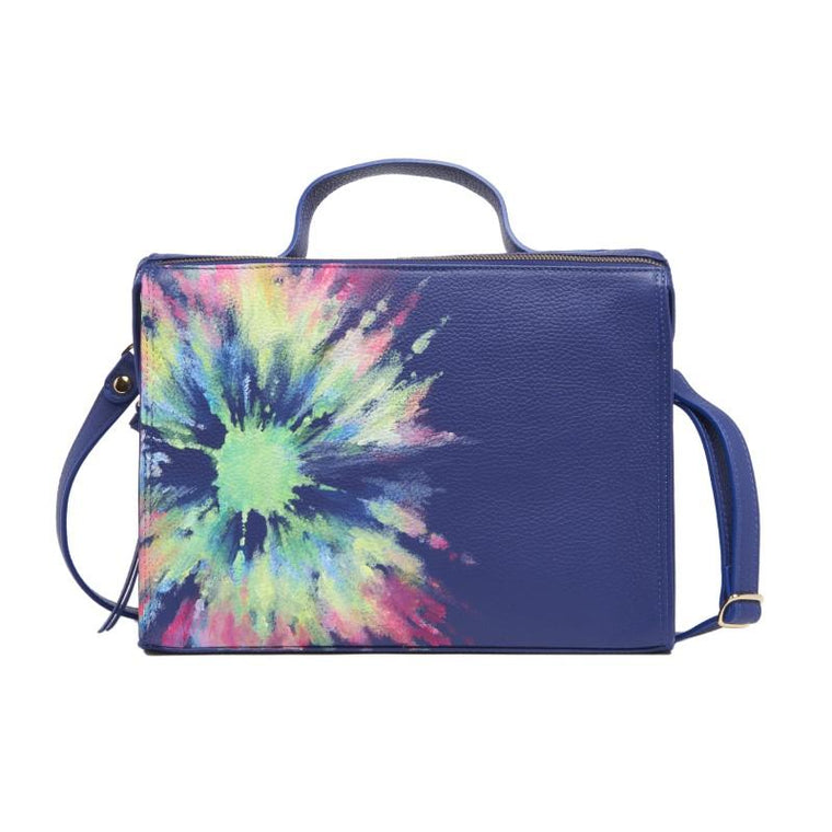Meira T Royal Blue or Denim Handpainted Tie Dye Floursecent Bag