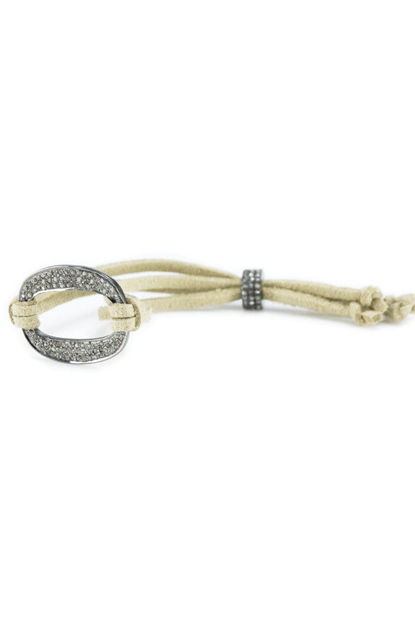 Bracelet Diamond Open Medium on Suede