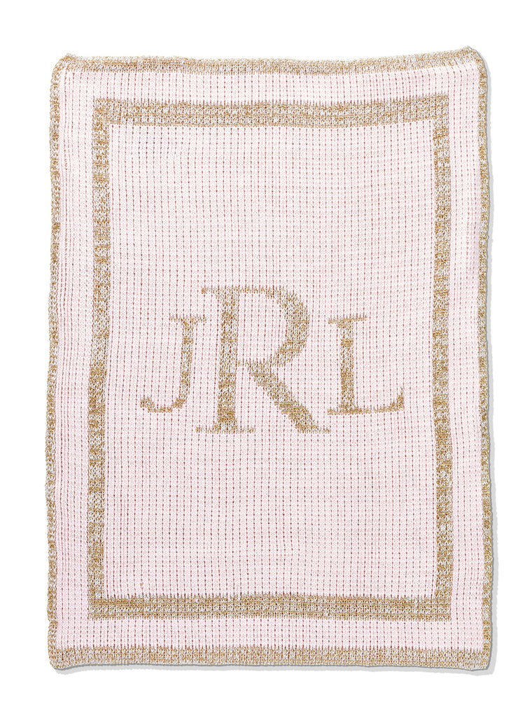 Butterscotch Metallic Classic Monogram Blanket