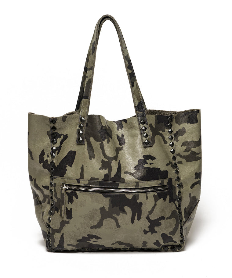 Miley Camo Studded Tote Olive