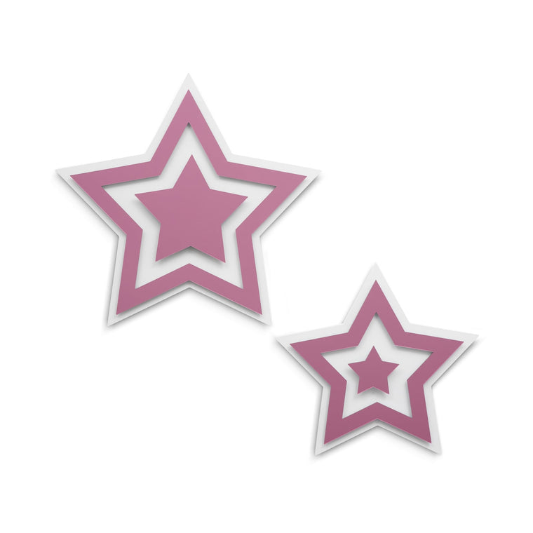 Pink Mirrored Stars Wall Sculpture Decor