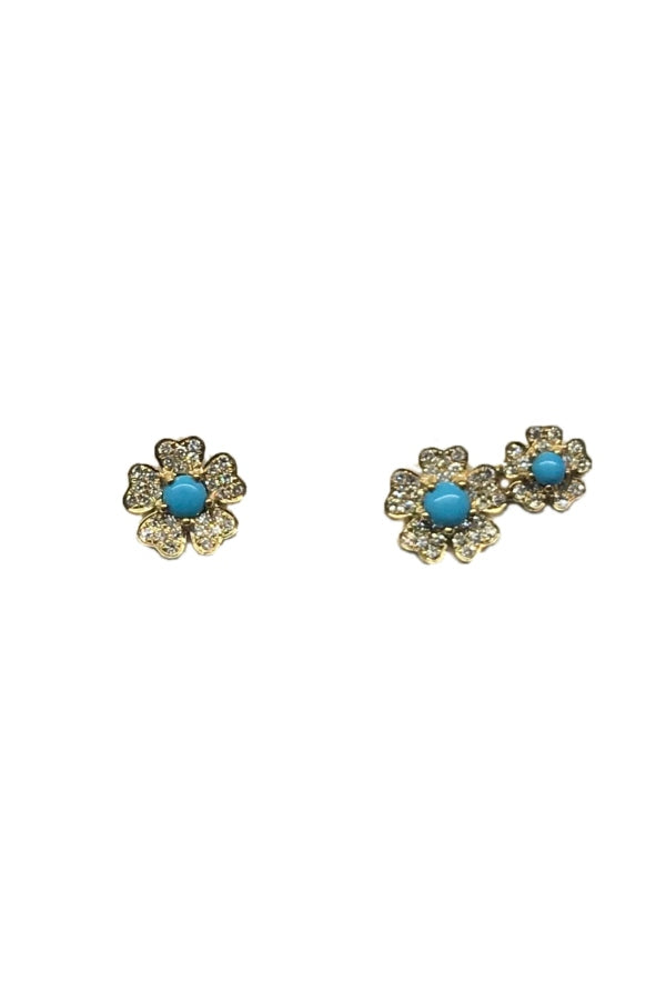 Gold Turquoise Diamond Flowers