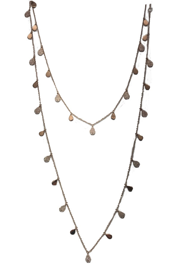 Rose Gold & Diamond Long Strand Necklace