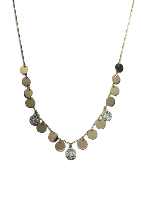 Gold & Diamond Disc Necklace