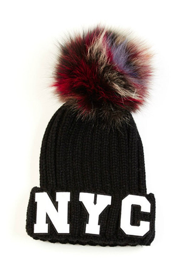 Hat Ribbed Pom Pom Patch Black NYC