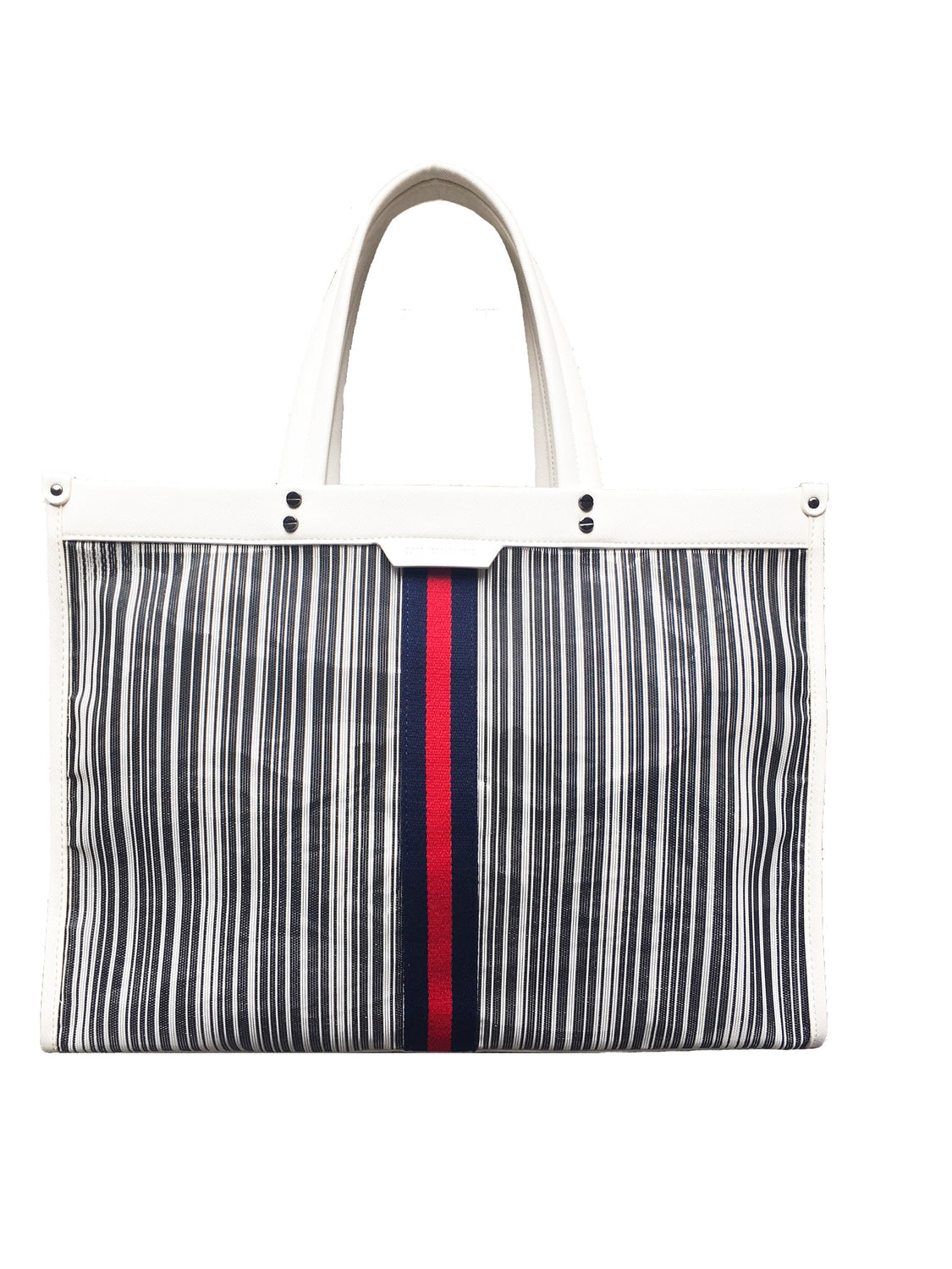 Large Mesh Red/Navy Stripe Tote