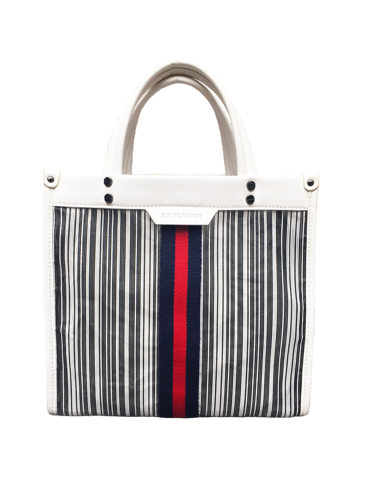 Mesh Red/Navy Stripe Tote