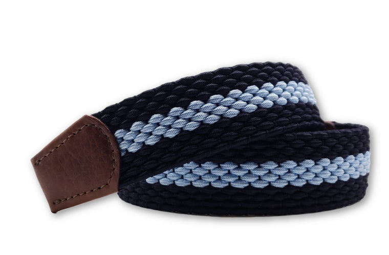 Men's Navy & Carolina Blue Elastic Stretch Belt