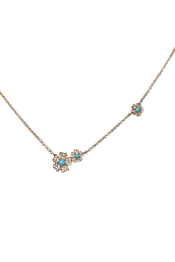 Rose Gold Diamond & Turquoise Flower Necklace