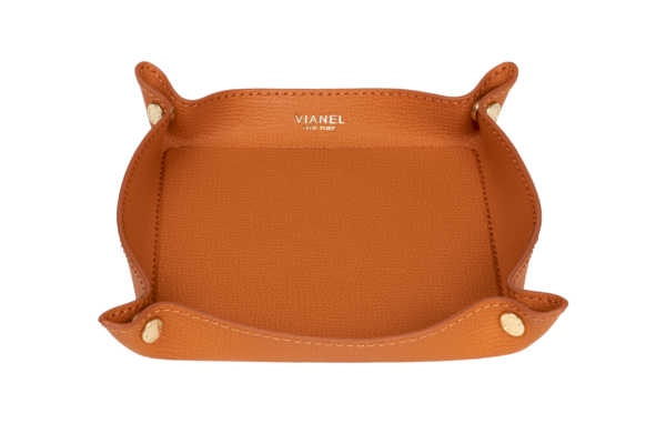 Orange Leather Valet Tray