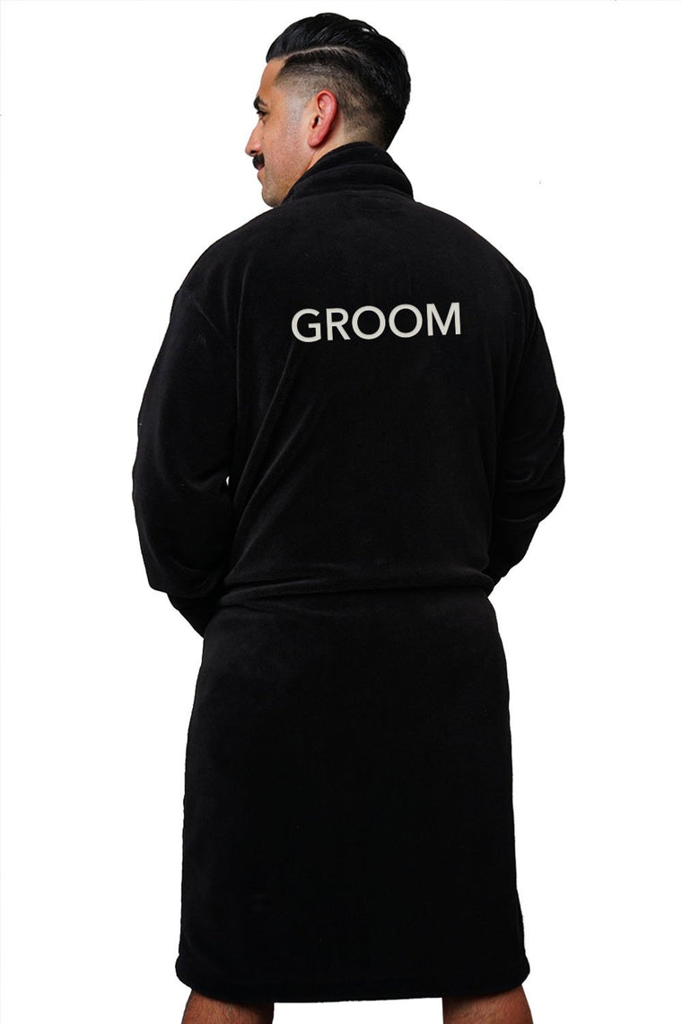 LA Trading Co Black Plush Robe Groom