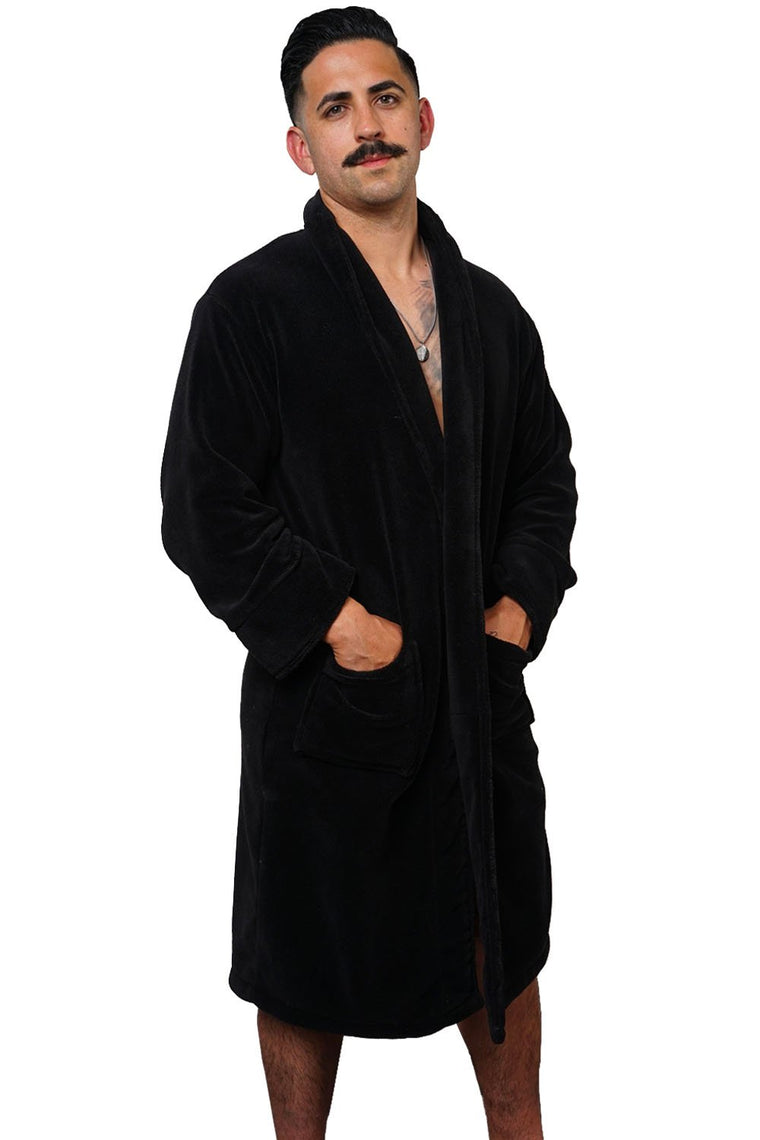 LA Trading Co Black Plush Robe Big Deal