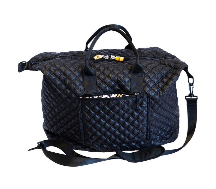 Black Quilted Overpacker Tote