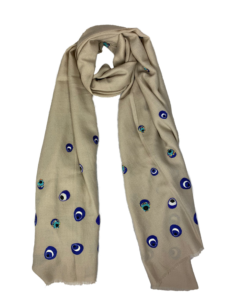 Evil Eye Scarf Natural