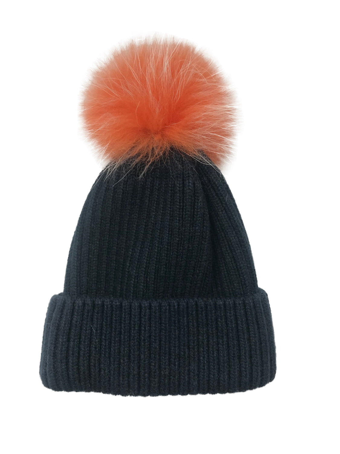 College Theme Pom Pom Hat Navy/Orange