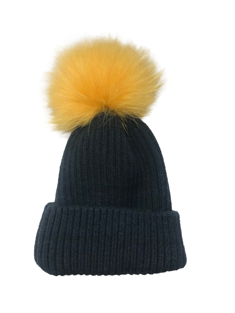 College Theme Pom Pom Hat Navy/Yellow
