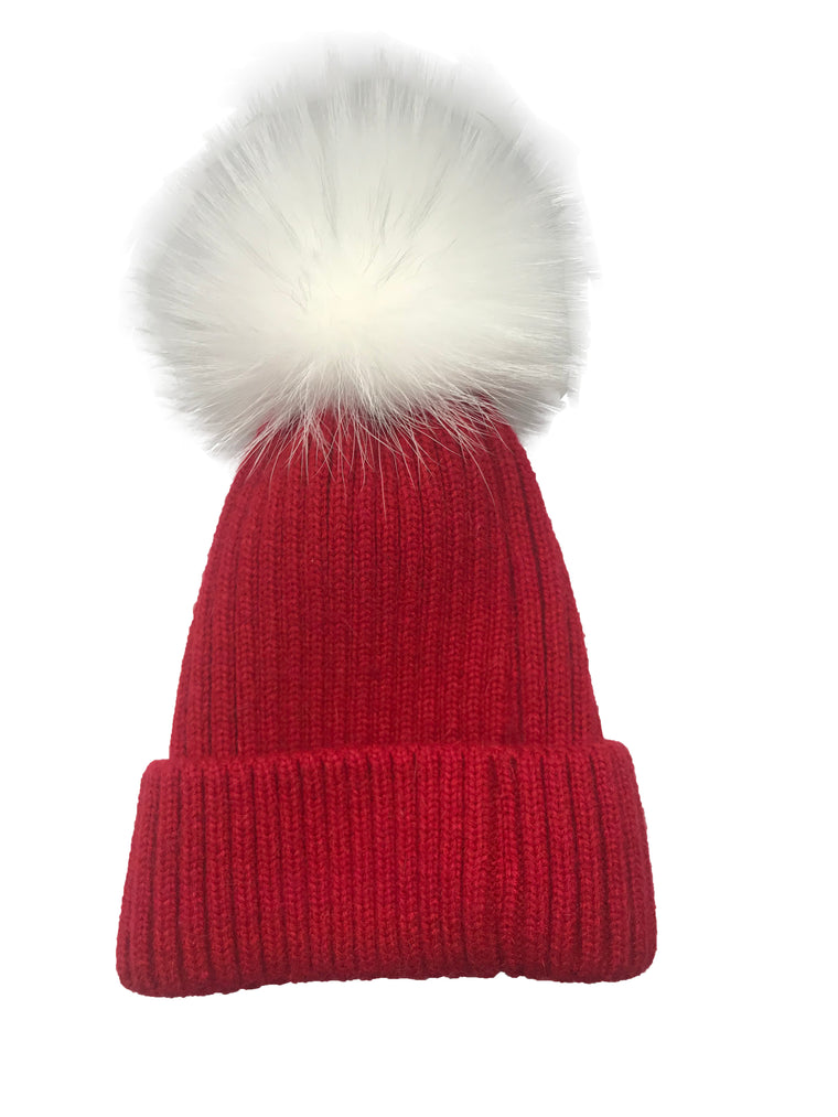 College Theme Pom Pom Hat Red/White