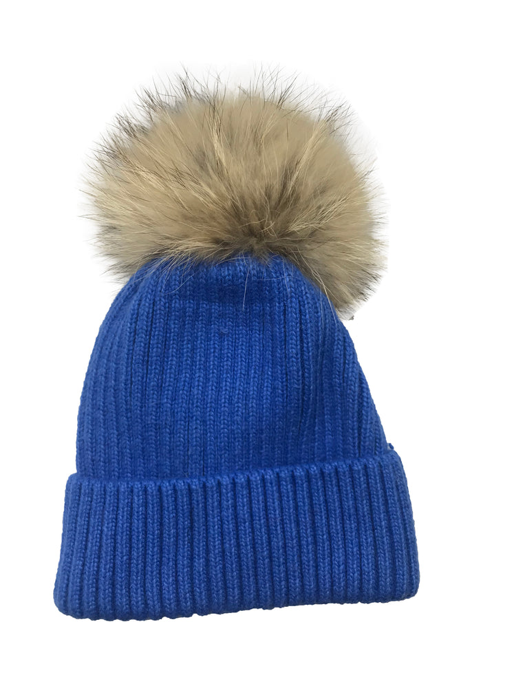 Denim Ribbed Pom Pom Hat