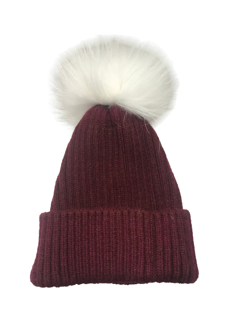College Theme Pom Pom Hat Burgundy/White