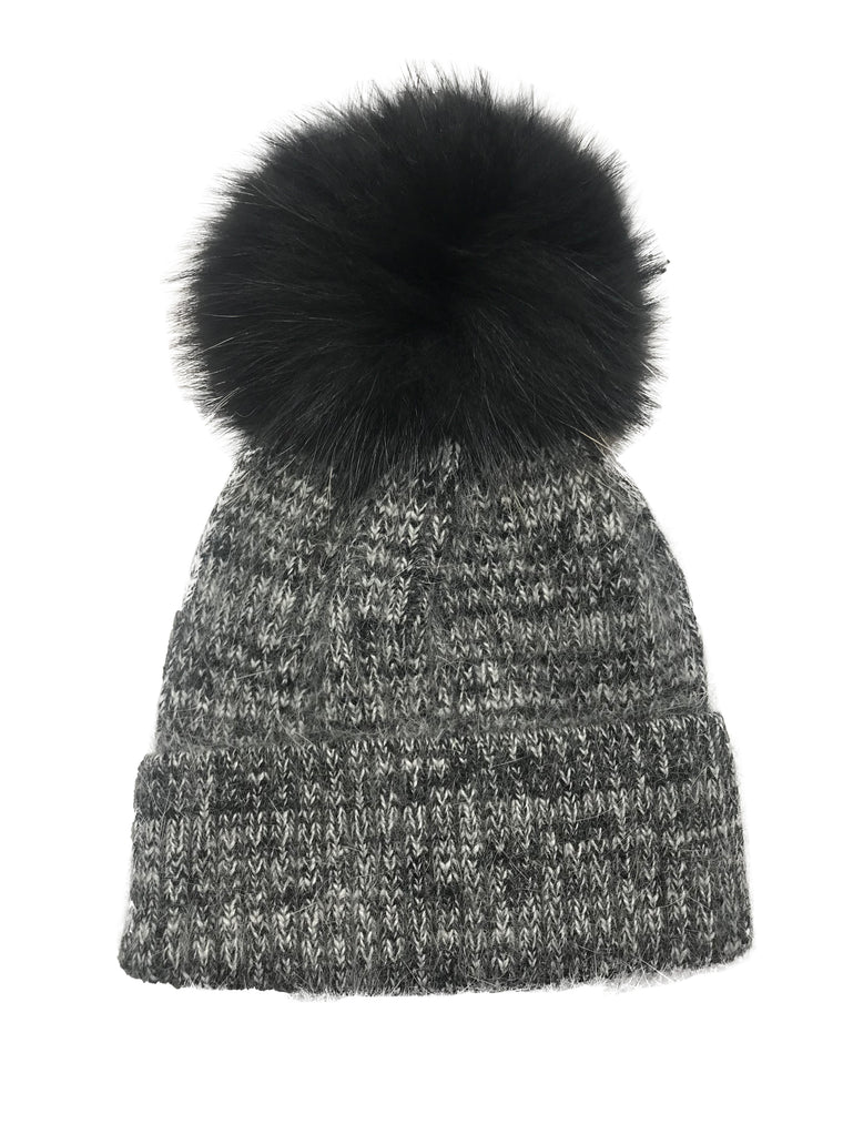 Tweed/Black Mohair Pom Pom Hat
