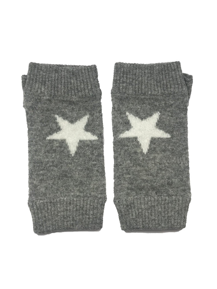 Cashmere Star Fingerless Glove Grey
