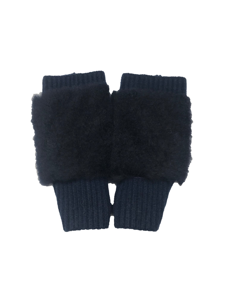 Blue Shearling & Cashmere Fingerless Glove