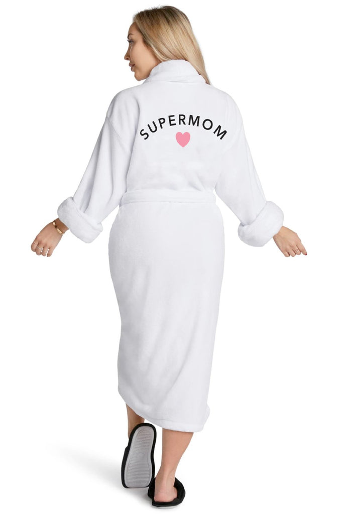 LA Trading Co White Plush Robe Supermom