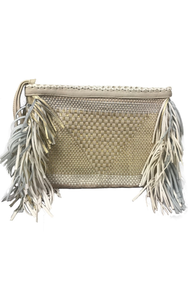Beige White & Gold Fringe Woven Clutch