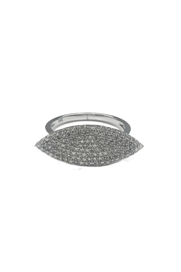 White Gold Pave Diamond Marquis Ring