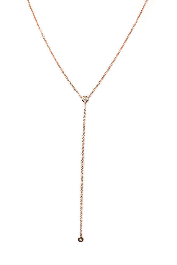 Single Diamond Lariat Rose Gold